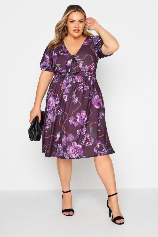 YOURS LONDON Purple Floral Bow Front Dress_A.jpg