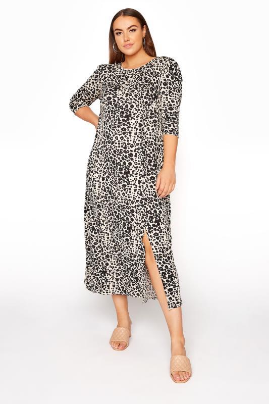 YOURS LONDON Beige Leopard Midaxi Split Dress_A.jpg