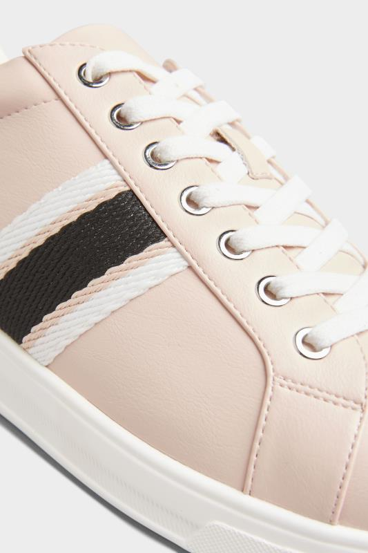 Pink Vegan Faux Leather Stripe Trainers In Extra Wide Fit_D.jpg