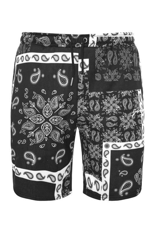 Großen Größen  HYPE Black Paisley Print Shorts
