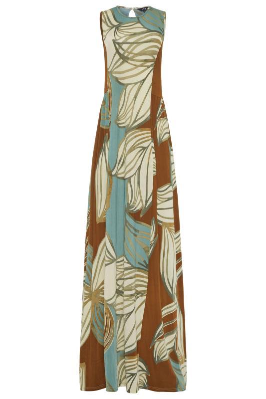 LTS Multicoloured Leaf Print Panelled Sleeveless Maxi Dress_F.jpg