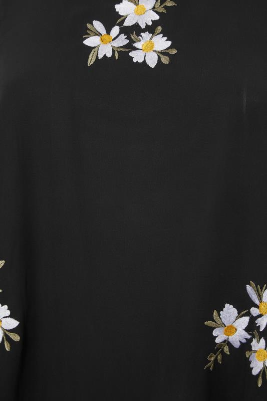 YOURS LONDON Black Daisy Embroidered Cape Top_S.jpg