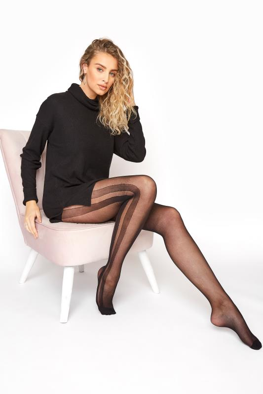 Black 15 Denier Side Stripe Tights