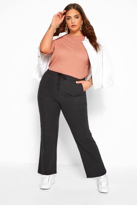 Plus Size Cool Cotton Trousers Black Wide Leg Cotton Trousers