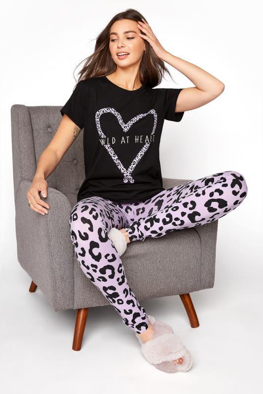 Tall  LTS Black 'Wild At Heart' Pyjama Set