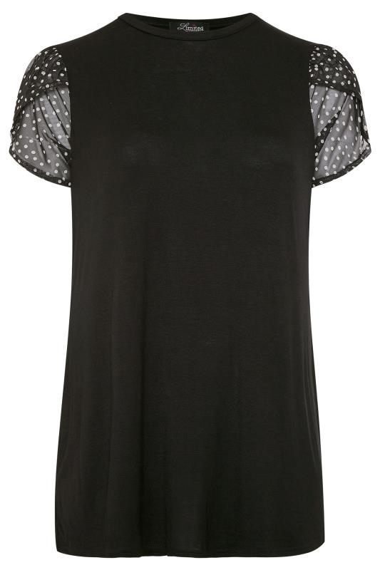 LIMITED COLLECTION Black Spot Mesh Wrap Sleeve Top