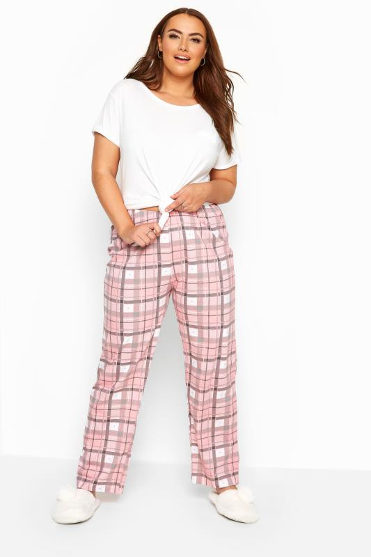 Plus Size Pyjamas Pink Checked Pyjama Bottoms