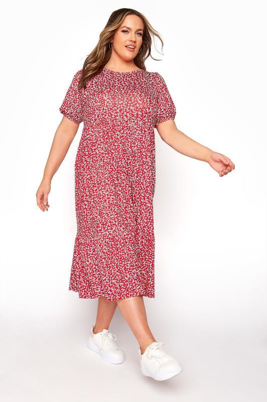 Grande Taille Red Ditsy Frill Hem Puff Sleeve Midi Smock Dress