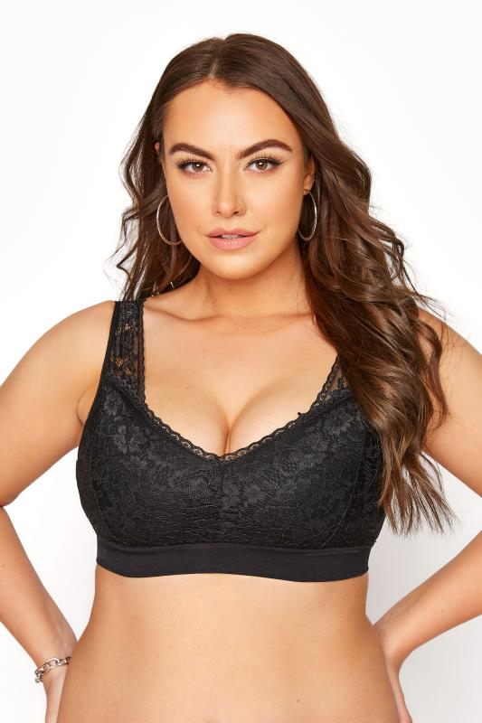 Plus Size  Black Seamless Lace Bralette