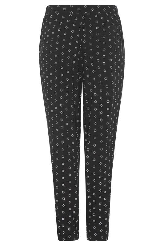 LTS Black Geometric Double Pleat Jersey Harem Trousers_bk.jpg