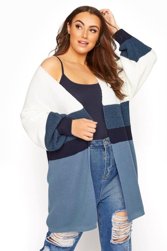 Plus Size  Blue Colour Block Oversized Cardigan