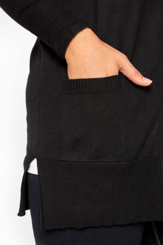 Black Button Through Boyfriend Cardigan
