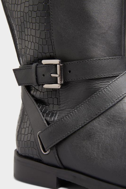 Black Leather Buckle Calf Knee High Riding Boots In Extra Wide Fit_D.jpg