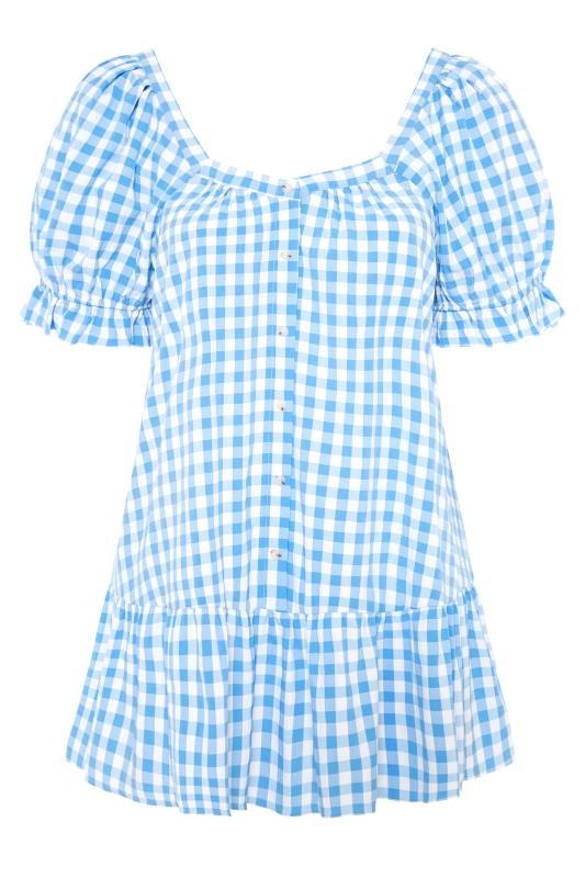THE LIMITED EDIT Blue Gingham Puff Sleeve Tunic_F.jpg