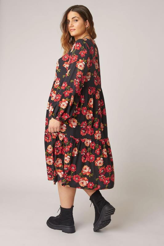 THE LIMITED EDIT Black Floral Smock Tiered Shirt Dress_C.jpg