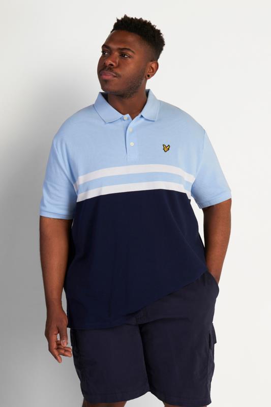 LYLE & SCOTT Blue Stripe Colour Block Polo Shirt