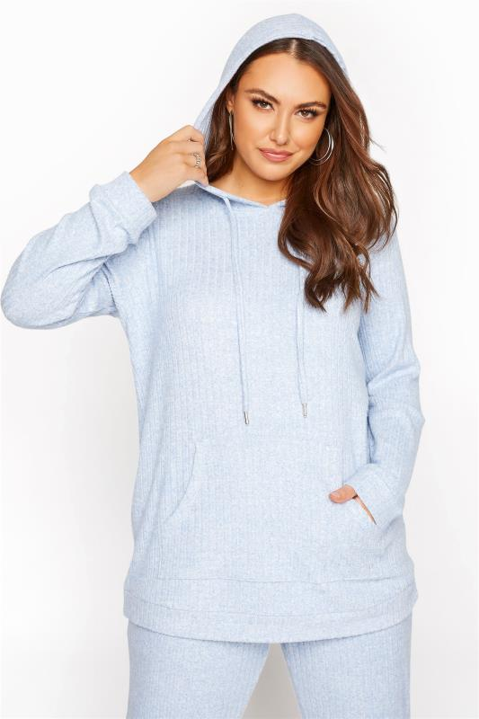 Light Blue Marl Soft Hooded Co-ord Lounge Hoodie