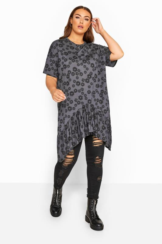 Plus Size Jersey Tops LIMITED COLLECTION Charcoal Grey Daisy Print Hanky Hem Top