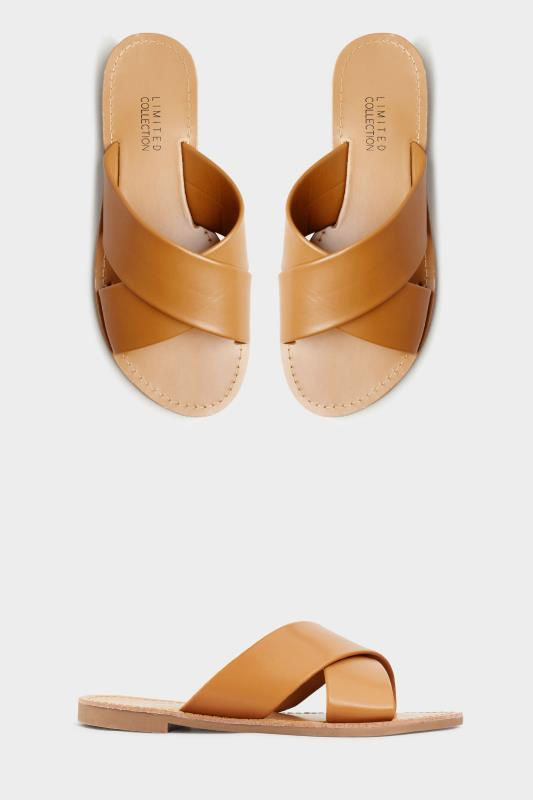 LIMITED COLLECTION Tan Cross Strap Mules In Extra Wide Fit_split.jpg