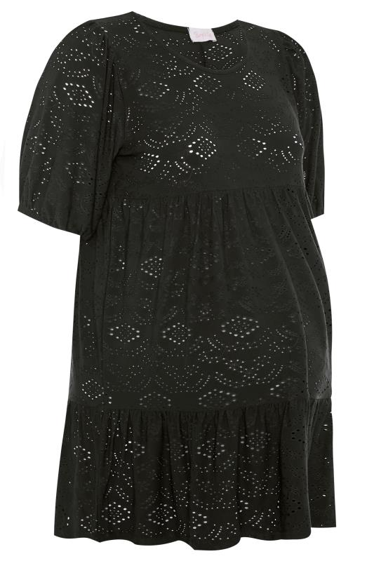 BUMP IT UP MATERNITY Black Broderie Anglaise Tiered Smock Top