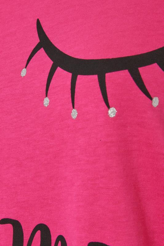 Pink 'Let Me Sleep' Dipped Back Pyjama Top_S.jpg