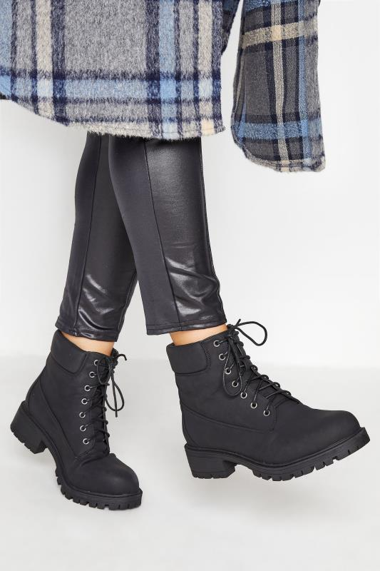 Plus Size  Black Chunky Lace Up Boots In Extra Wide Fit