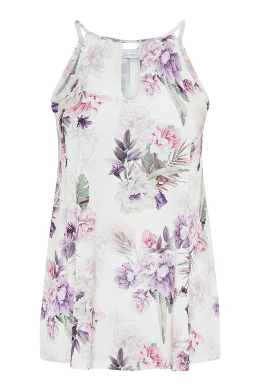 Plus Size  YOURS LONDON White Tropical Print Keyhole Top