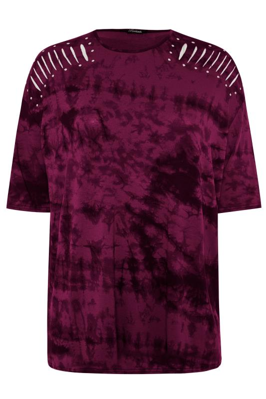 LIMITED COLLECTION Wine Tie Dye Stud Laser Cut Top