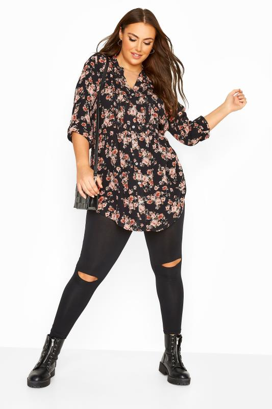 Black Floral Button Through Pintuck Shirt
