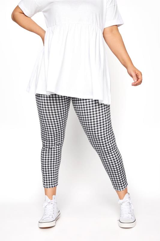 Black Gingham Check Leggings