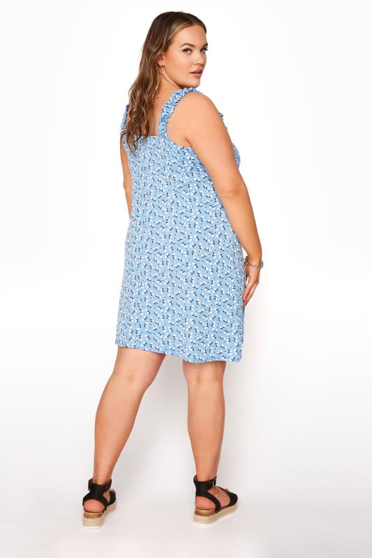 LIMITED COLLECTION Blue Floral Strappy Frill Dress_C.jpg