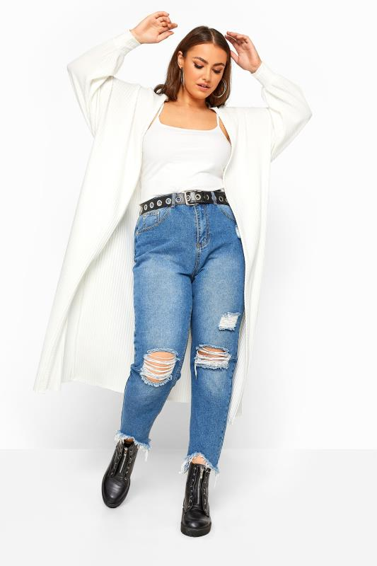 Plus Size Cardigans LIMITED COLLECTION White Balloon Sleeve Brushed Midi Cardigan