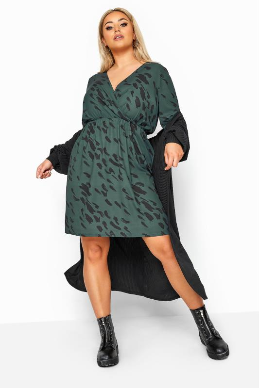 LIMITED COLLECTION Forest Green Animal Markings Wrap Dress