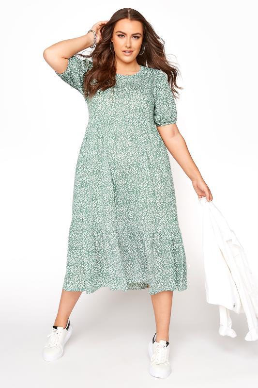 Sage Green Floral Frill Hem Midi Dress_B.jpg