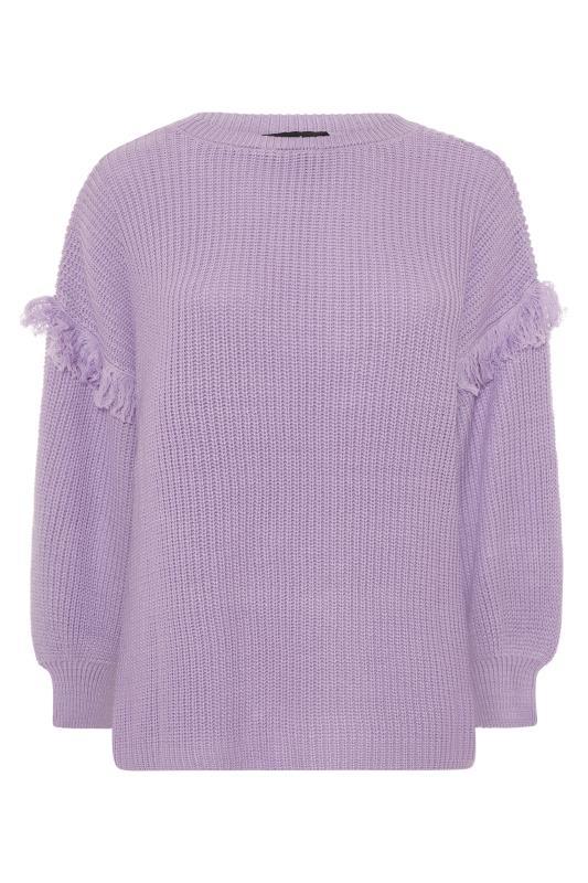 Lilac Purple Tassel Sleeve Chunky Knitted Jumper_F.jpg