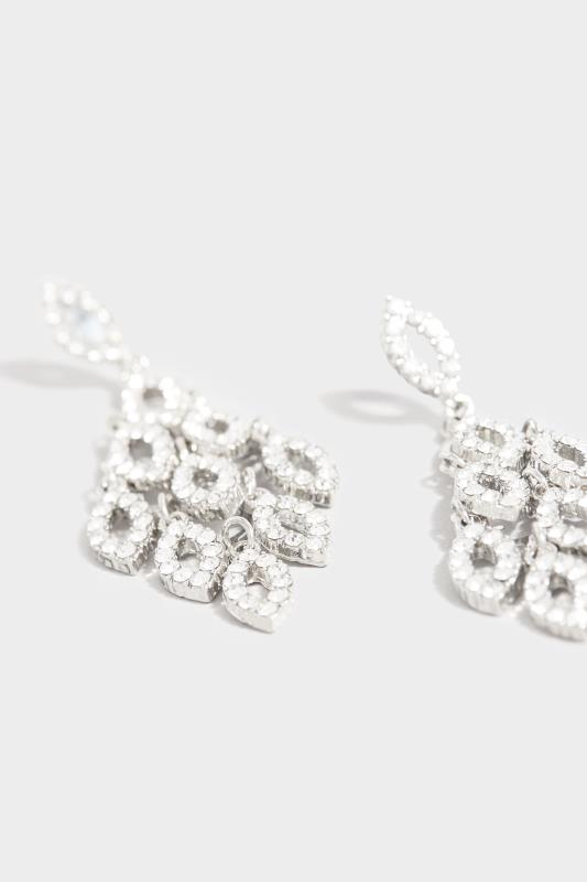 Silver Diamond Tassel Long Earrings