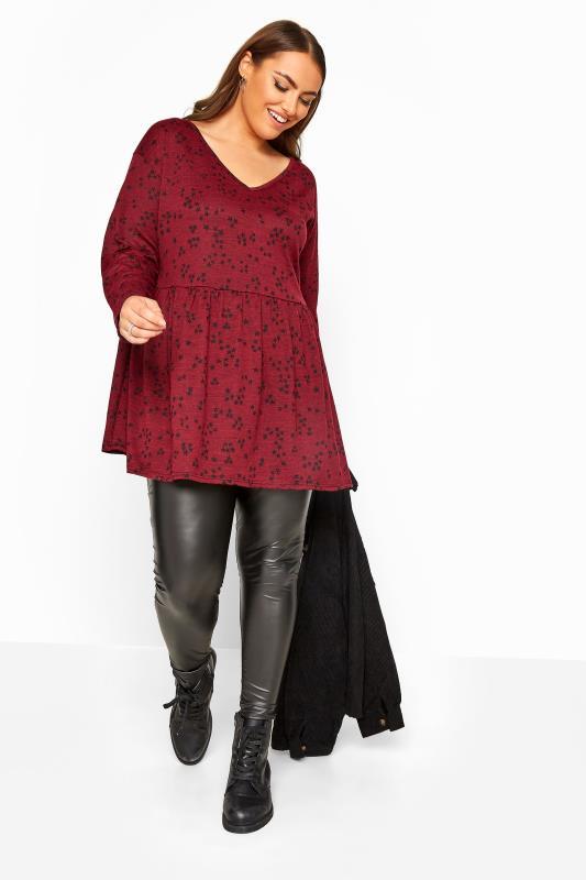 Wine Red Star Print Peplum Knitted Top