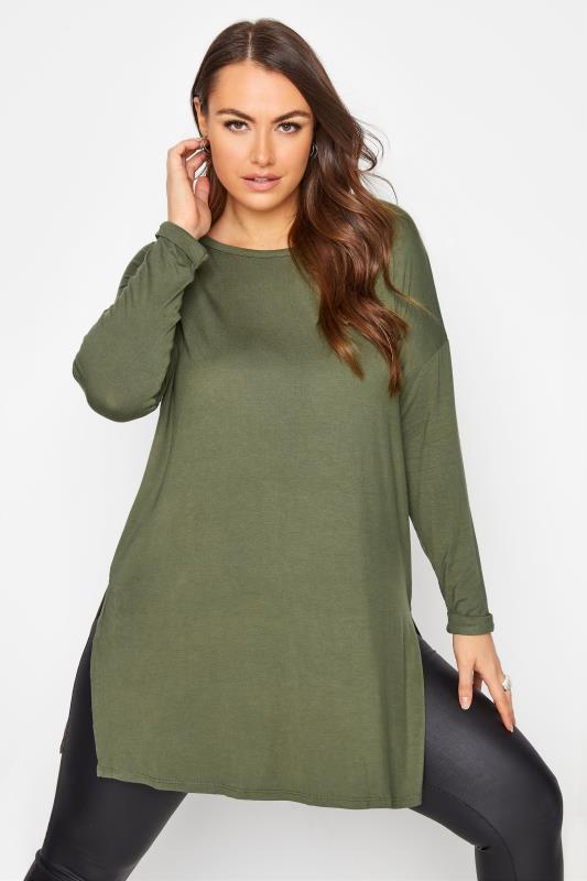 Plus Size  Khaki Green Long Sleeve Oversized T-Shirt