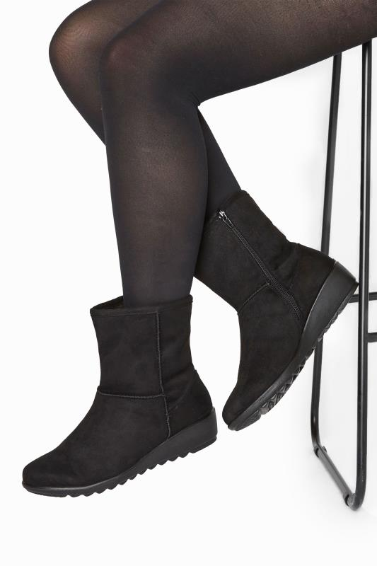 Grande Taille Black Vegan Suede Wedge Heel Boots In Extra Wide Fit