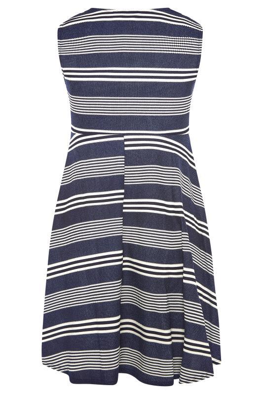 Blue Stripe Wrap Skater Dress_BK.jpg