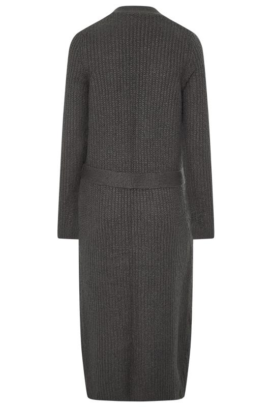 Grey Belted Maxi Knitted Cardigan