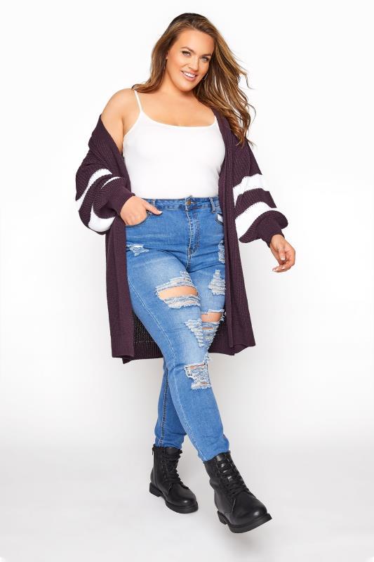 Purple Varsity Stripes Knitted Cardigan_B.jpg