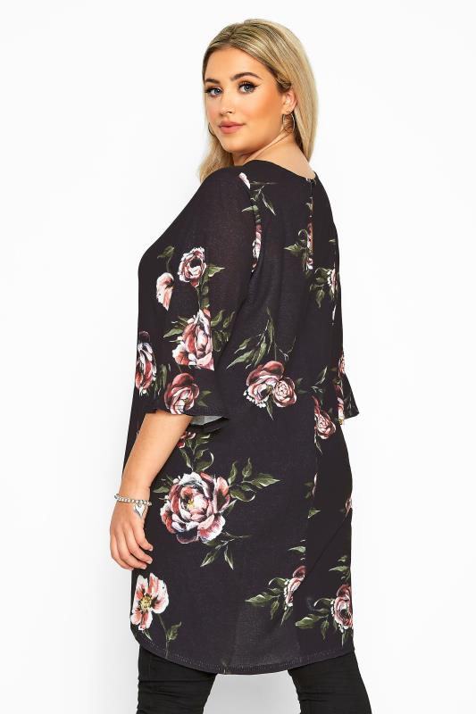 YOURS LONDON Black Floral Flute Sleeve Tunic
