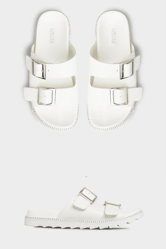 LIMITED COLLECTION White Stud Buckle Sandals In Extra Wide Fit_split.jpg