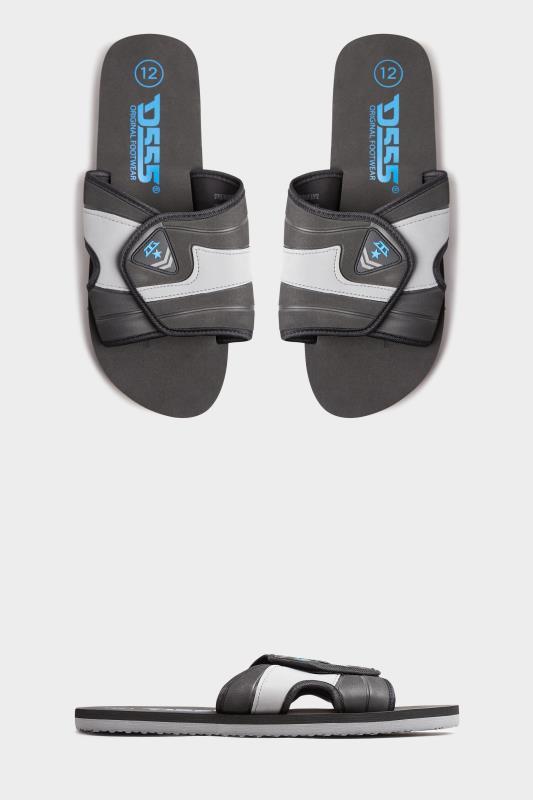 Men's  D555 Black Kingsize Slider With Velcro Strap