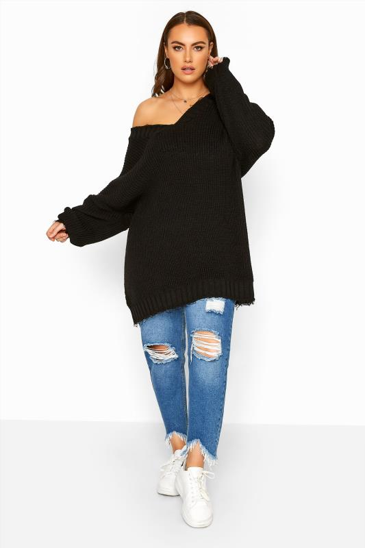 Black Distressed Oversized Knitted Jumper