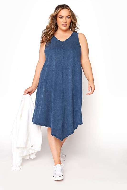 Blue Acid Wash Hanky Hem Sleeveless Dress_B.jpg