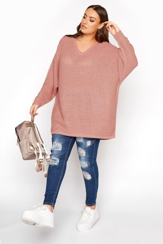 Pink Lace Sleeve Knitted Jumper