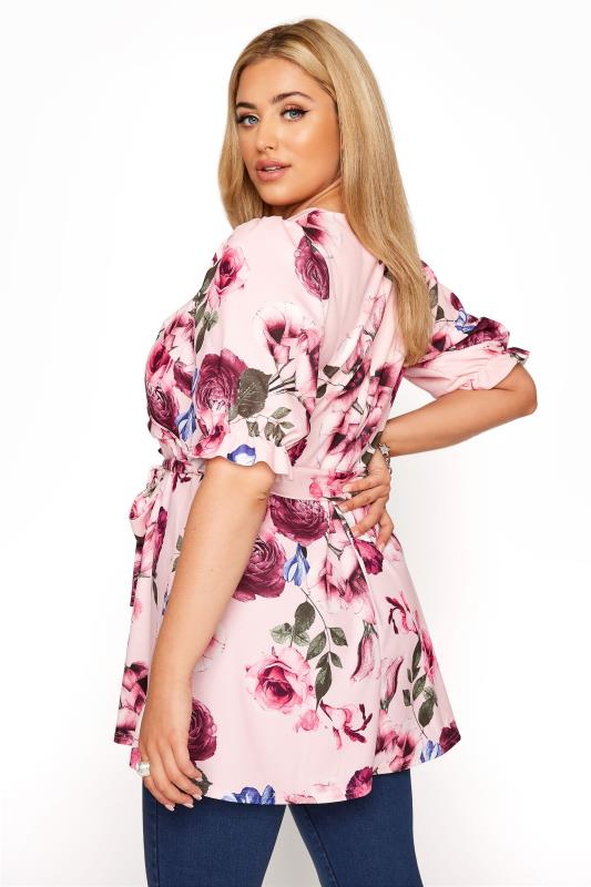 YOURS LONDON Pink Floral Puff Sleeve Wrap Top_C.jpg