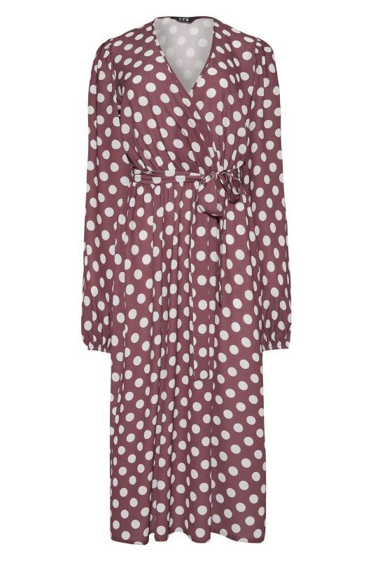 LTS Brown Polka Dot Wrap Midi Dress_F.jpg